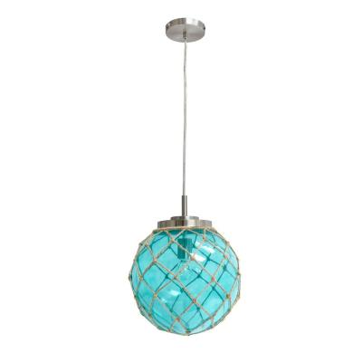 1-Light Buoy Netted Aqua Brushed Nickel Coastal Ocean Sea Glass Pendant