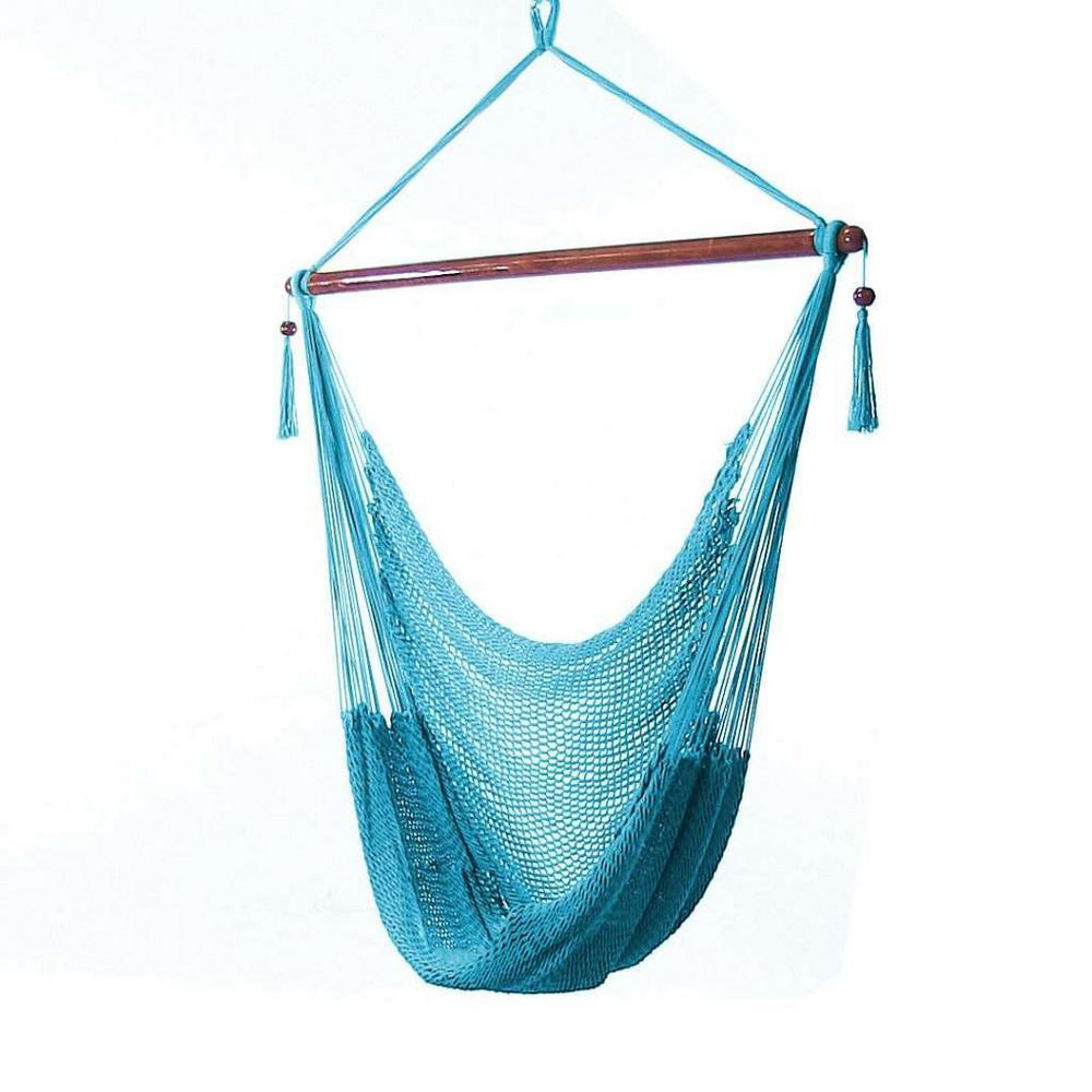 Sunnydaze Decor Caribbean 4 ft  X-Large Hammock Chair in Sky Blue