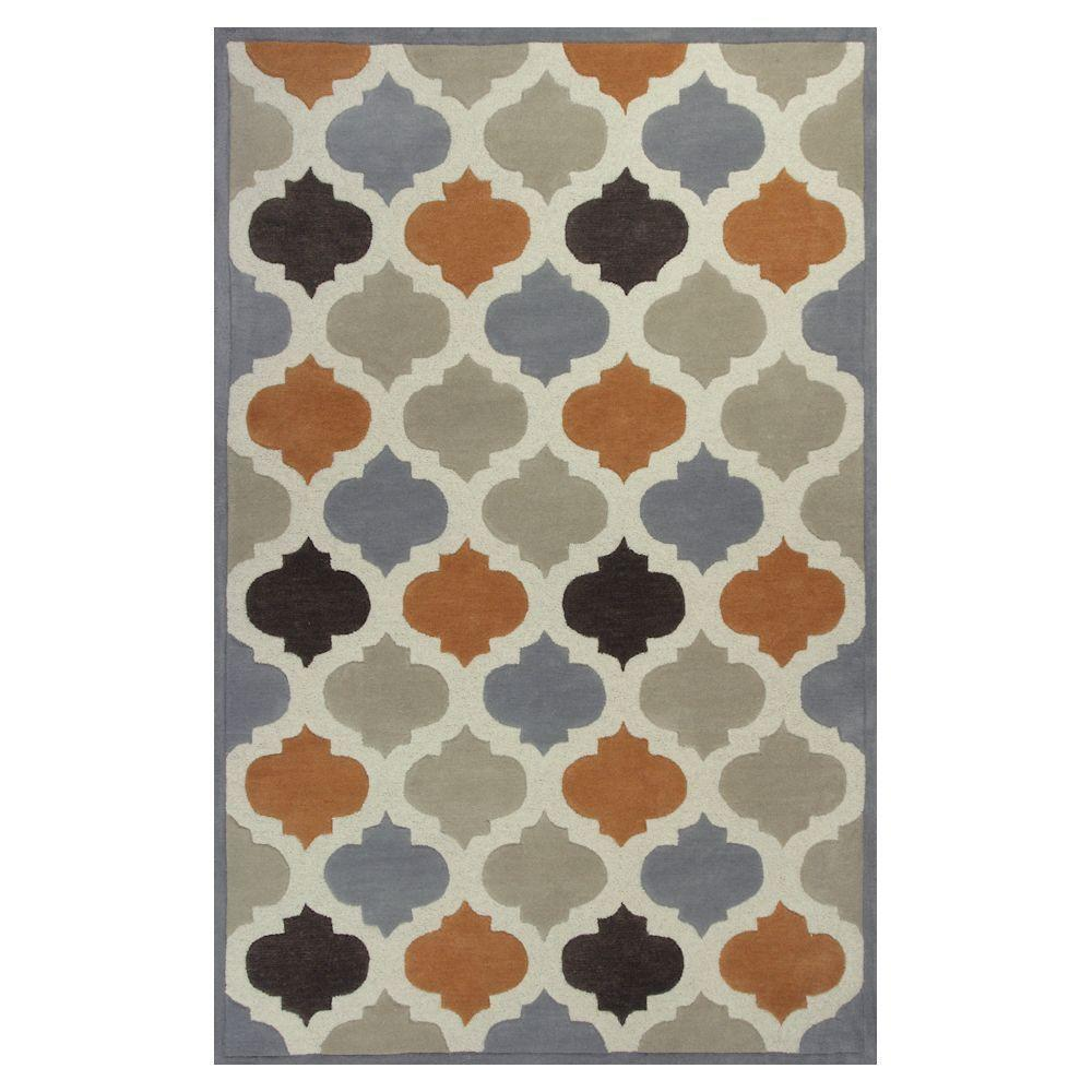 Kas Rugs Moroccan Tile Ivory/Orange 3 ft. 3 in. x 5 ft. 3 in. Area Rug