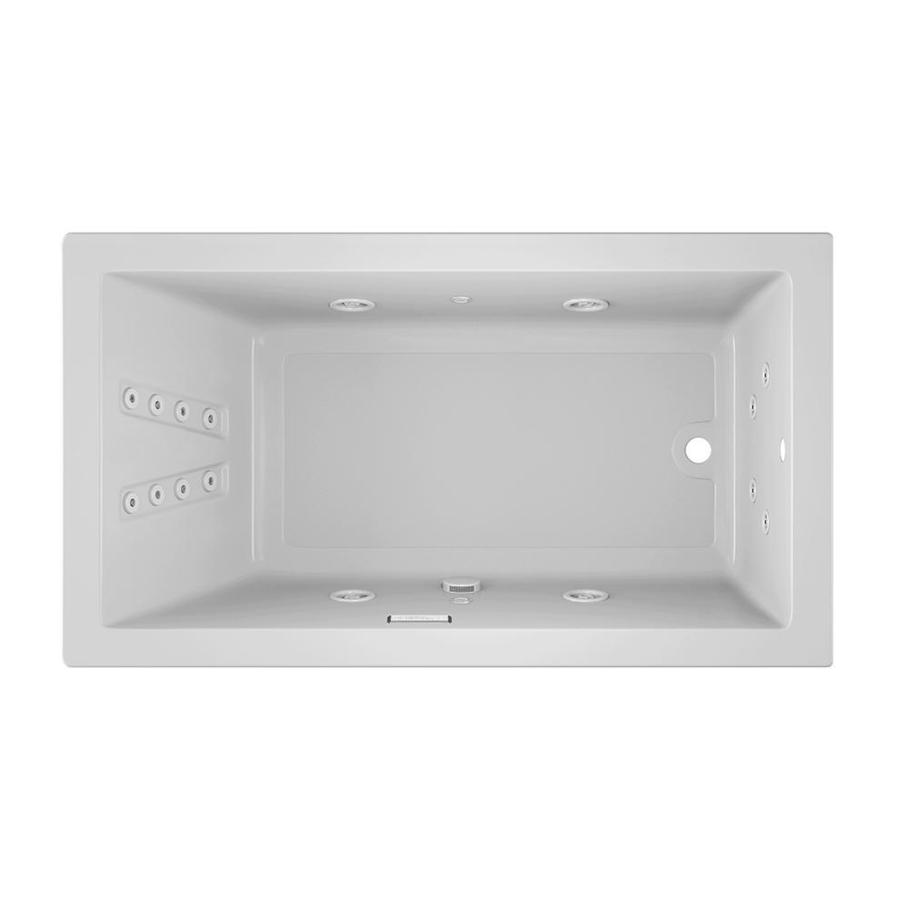 JACUZZI SOLNA 66 in. x 36 in. Acrylic Rectangular Drop-in Reversible Whirlpool Bathtub in White