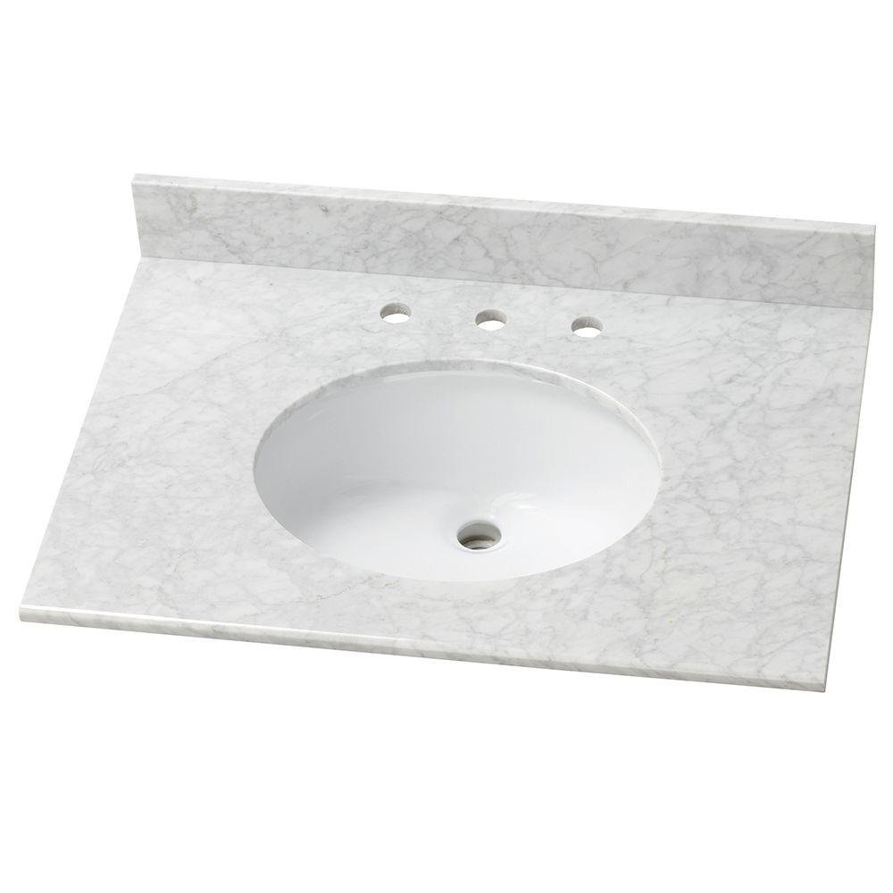 31 in. Stone Effects Vanity Top in Carrera with White Basin