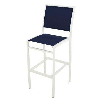 Bayline Satin White/Navy Blue Sling Patio Bar Side Chair