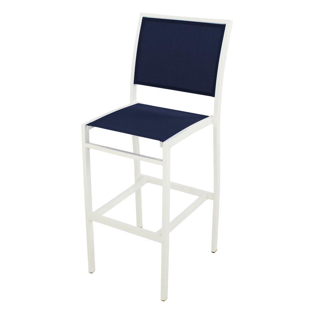 Bayline Satin White/Navy Blue Sling Patio Bar Side Chair
