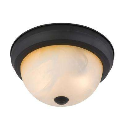 11 in. Venetian Bronze Incandescent Flush Mount Frame with Amber Glass