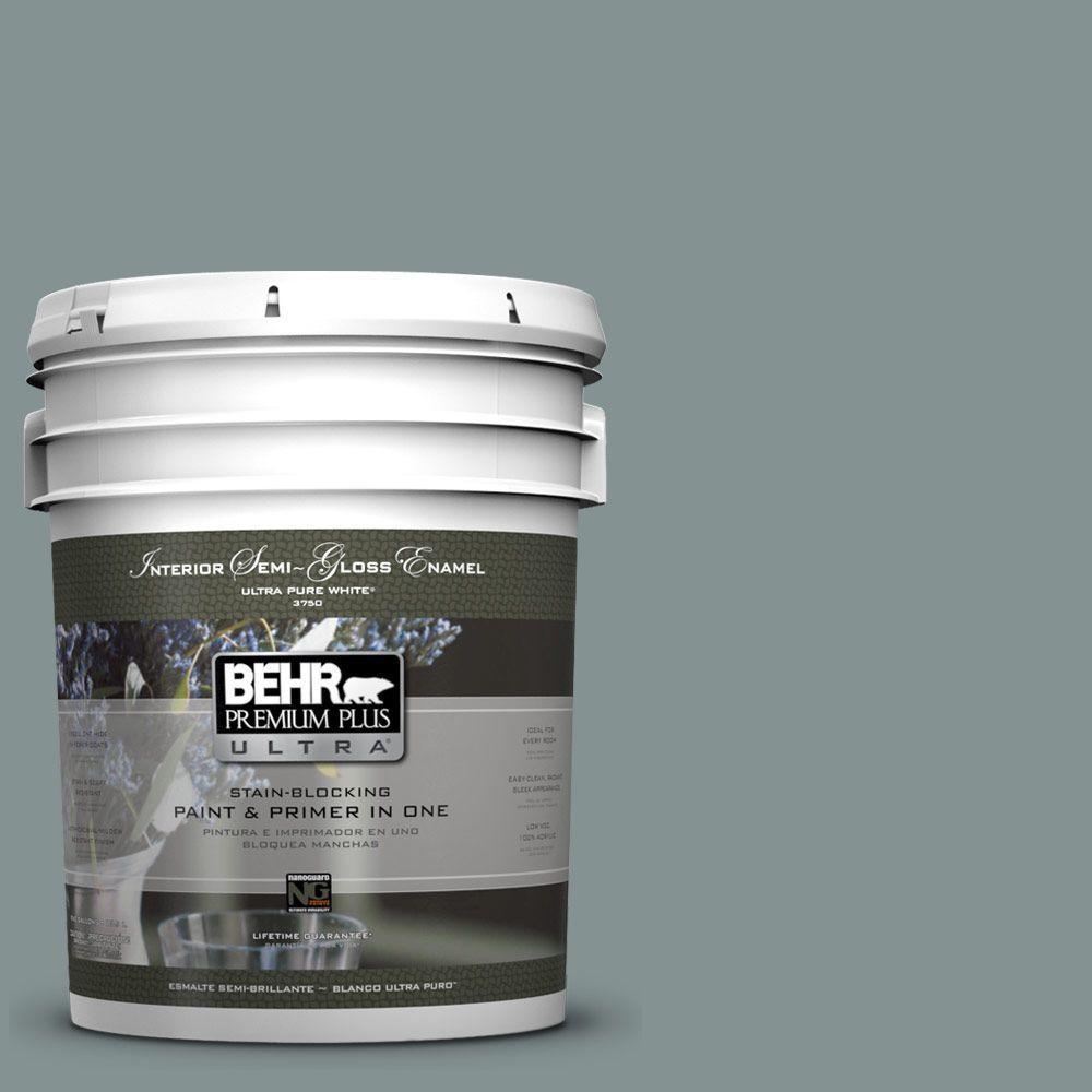 BEHR Premium Plus Ultra 5 gal. #ECC-61-3 Evening Fog Semi-Gloss Enamel Interior Paint and Primer in One