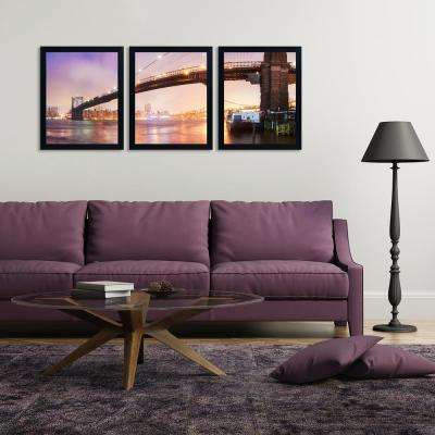 """22 in. x 54 in. """"Brooklyn Bridge Pano 1"""" by Moises Levy Framed Printed Canvas Wall Art"""