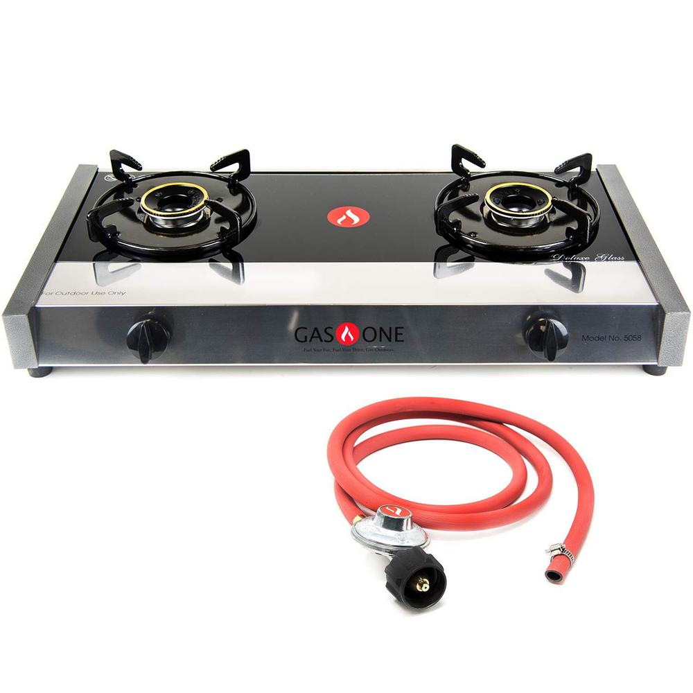 Gasone Glass Finish Outdoor Table Top Burner Propane Gas Stove 5058 The Home Depot
