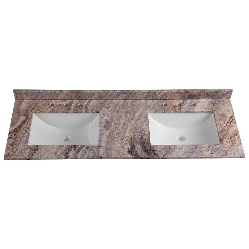 Home Decorators Collection 61 In W X 22 In D Stone Effects Double Vanity Top In Cold Fusion With White Sinks Se6122r Co The Home Depot
