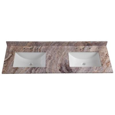 61 in. W x 22 in. D Stone Effects Double Vanity Top in Cold Fusion with White Sinks