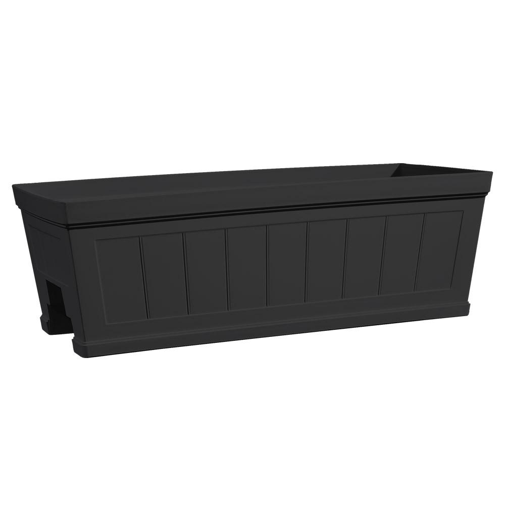 Hanover 27 in. Black Beadboard Resin Deck Rail Planter