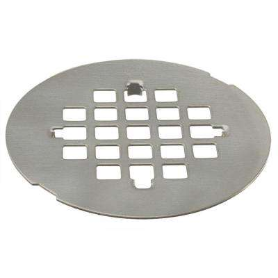 4-1/4 in. Brass Snap-In Shower Strainer Grid in Satin Nickel