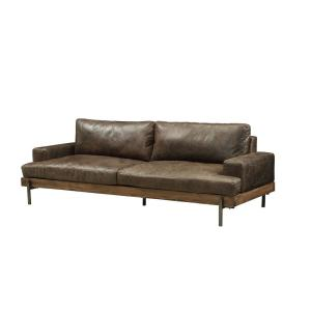 Silchester Distressed Chocolate Top Grain Leather Oak Wood Trim Sofa