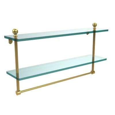 Mambo 22 in. L  x 12 in. H  x 5 in. W 2-Tier Clear Glass Bathroom Shelf with Towel Bar in Unlacquered Brass