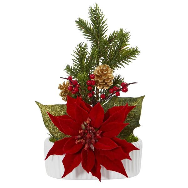 13in. Poinsettia, Berry and Pine Artificial Arrangement in White Vase