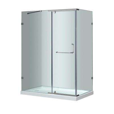 SEN975 60 in. x 35 in. x 77-1/2 in. Semi-Frameless Shower Enclosure in Stainless Steel with Left Base