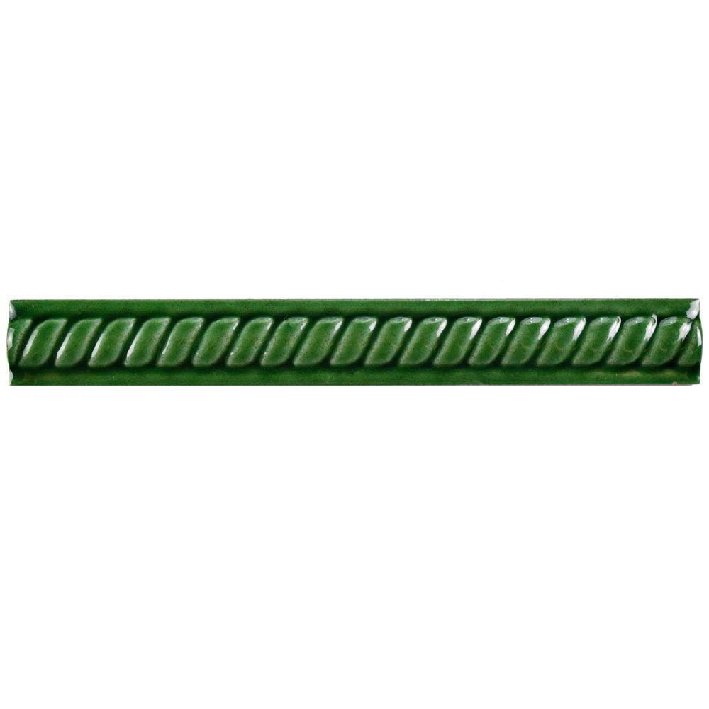 Trenza Verde Moldura 1 in. x 8 in. Ceramic Rope Pencil Wall Trim Tile