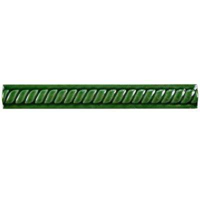Trenza Verde Moldura 1 in. x 7-7/8 in. Ceramic Rope Pencil Wall Trim Tile