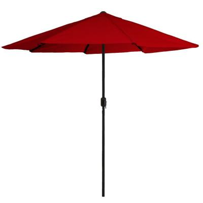 9 ft. Aluminum Patio Umbrella with Auto Crank in Red