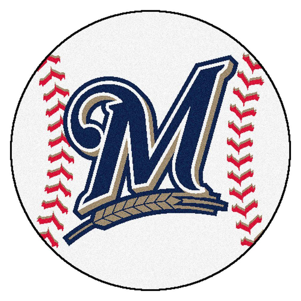 FANMATS MLB Milwaukee Brewers White 2 Ft. X 2 Ft. Round
