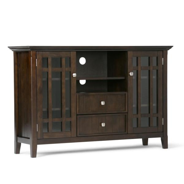 Bedford Collection 53 in. Tobacco Brown Wood TV Stand with 2 Drawer Fits TVs Up to 55 in. with Storage Doors
