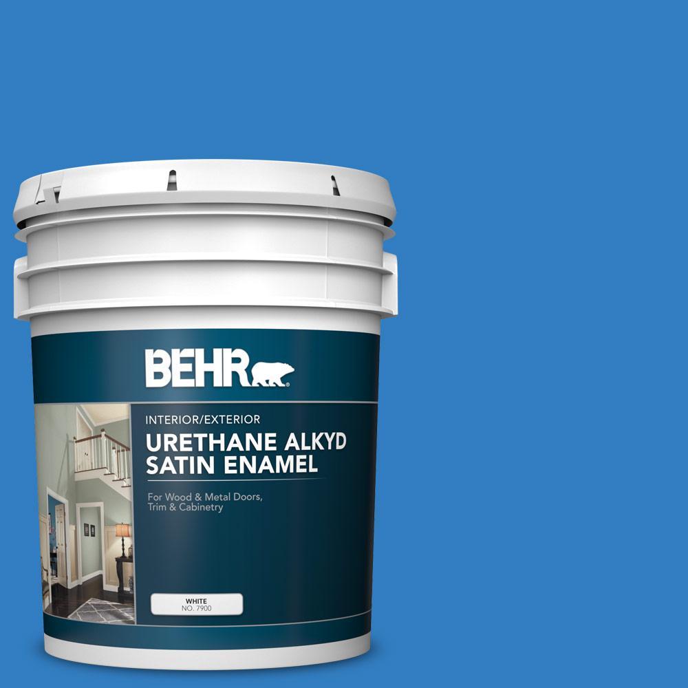 BEHR 5 gal  #P510-6 Brilliant Blue Urethane Alkyd Satin Enamel  Interior/Exterior Paint
