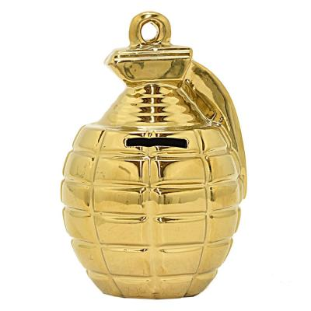 6.25 in. Gold Grenade Money Bank