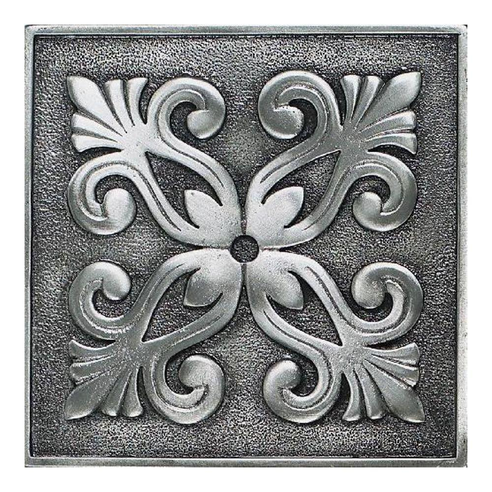 Daltile Massalia Pewter 4 in. x 4 in. Metal Frieze Wall Tile-DISCONTINUED