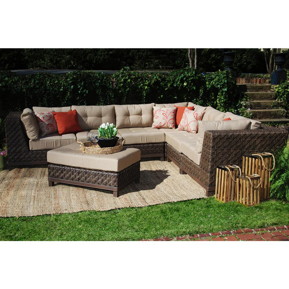 Dawson 7 Piece All Weather Wicker Outdoor Sectional With Tan Cushions