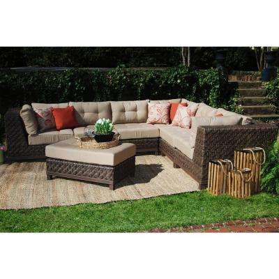 Bon Dawson 7 Piece All Weather Wicker Outdoor Sectional With Tan Cushions
