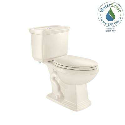 2-piece 1.0 GPF/1.28 GPF High Efficiency Dual Flush Elongated Toilet in Biscuit