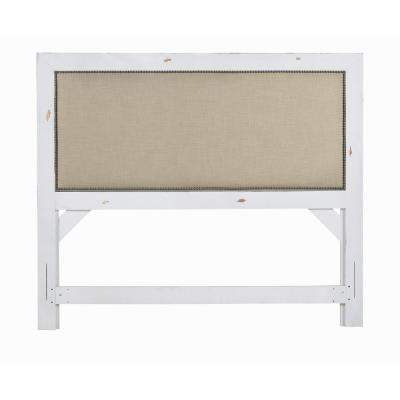 Willow Distressed White King Upholstered Headboard