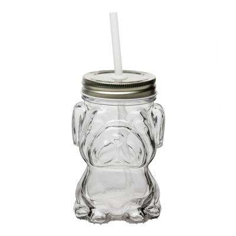 Mad Dog 6-Piece Clear Glass Mason Jar Drinkware Set with Silver Lid