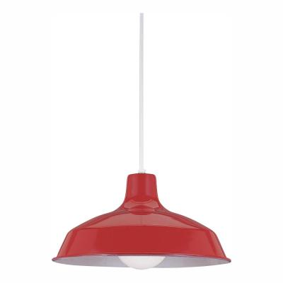Painted Shade Pendants 1-Light Red Pendant with LED Bulb