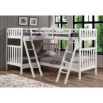 Alaterre Furniture Aurora White Twin Over Twin Bunk Bed with Quad Bunk Extension