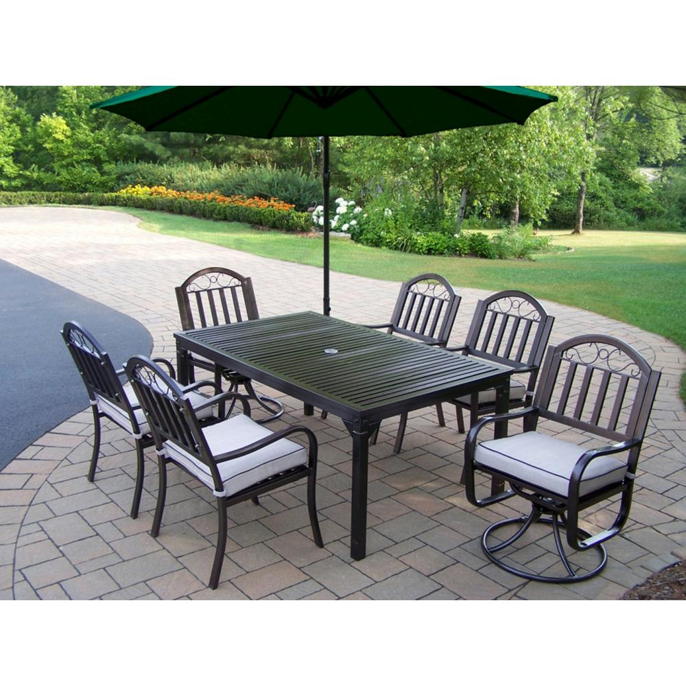 8 Piece Outdoor Dining Set with Tan Cushions and Green