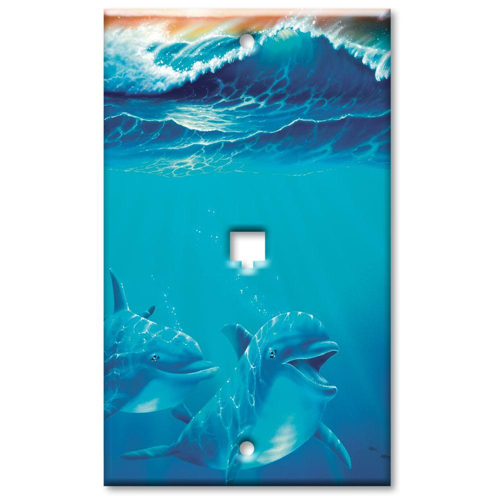 Art Plates Dolphins at Play Phone Jack Wall Plate