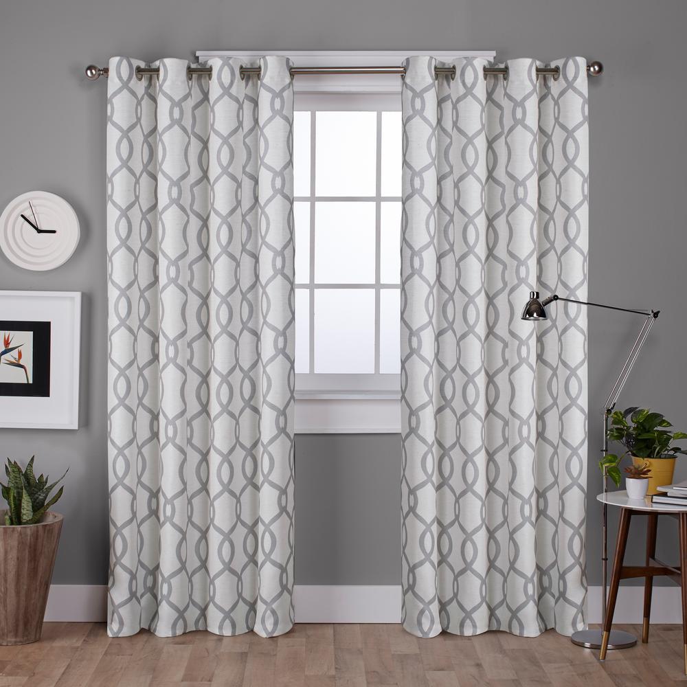 Kochi 52 in. W x 96 in. L Linen Blend Grommet Top Curtain Panel in Dove Gray (2 Panels)