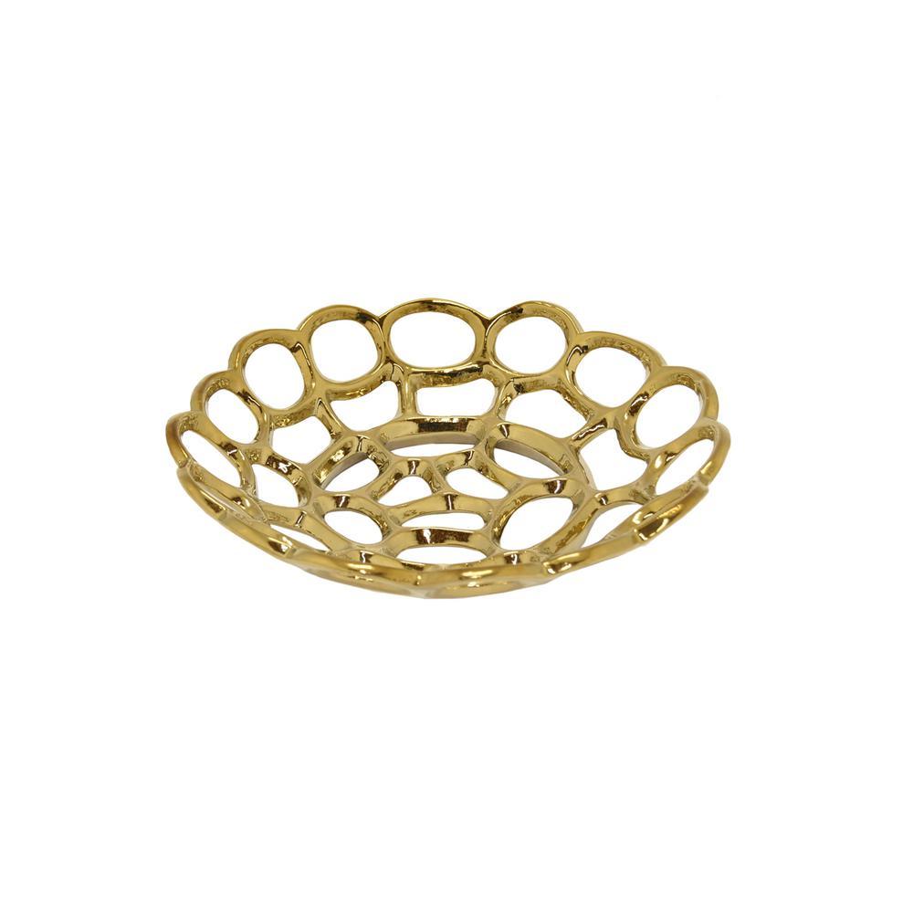 Gold Ceramic Plate  sc 1 st  Home Depot & Ceramic - Decorative Plates \u0026 Bowls - Decorative Storage - The Home ...