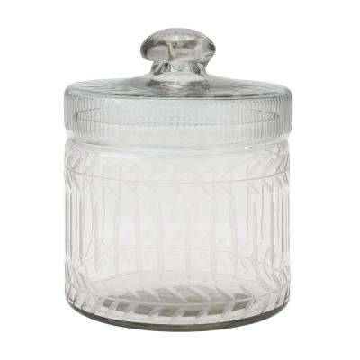 5 in. x 6.5 in. Clear Cut Glass Trinket Box