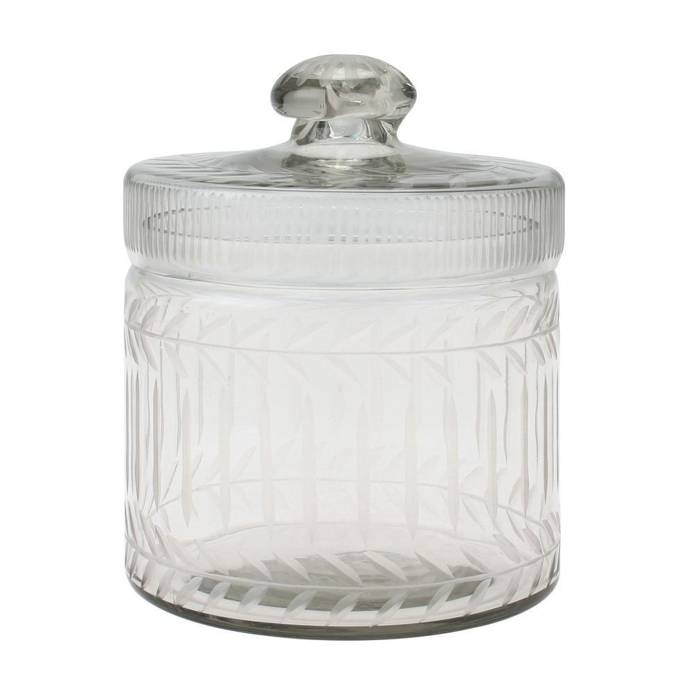 5 in. x 6.5 in. Clear Cut Glass Trinket Box