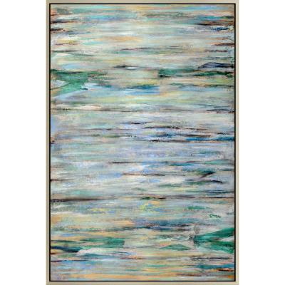 """2.5 in. x 48 in. """"Blue Braid"""" Framed Hand Painted Canvas Wall Art"""