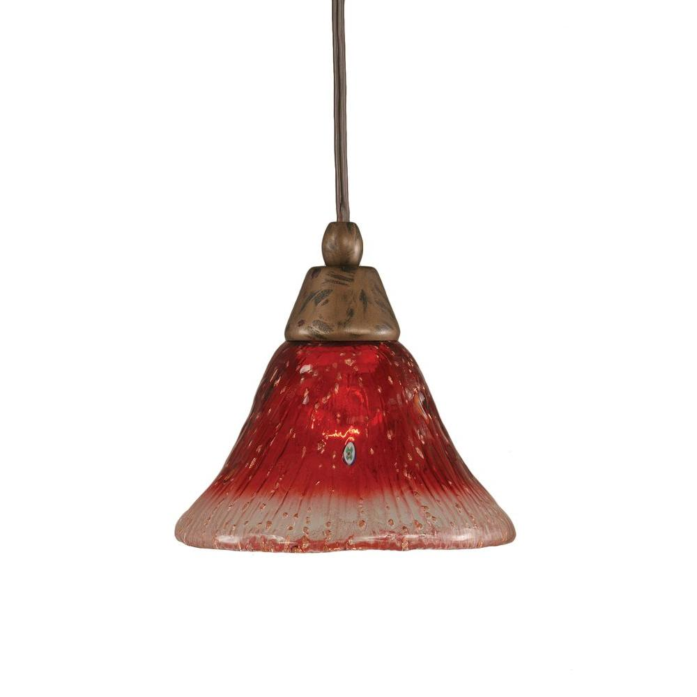 Filament Design Armenta 1-Light Bronze Pendant with Raspberry Crystal Glass