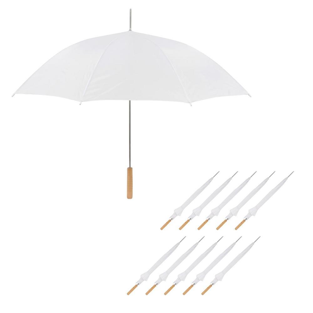 35 in. White Wedding Umbrella Manual Open (10-Pack)