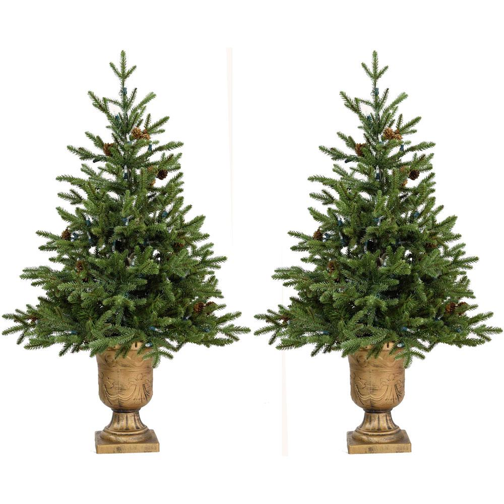4 ft. Noble Fir Artificial Trees with Metallic Urn Bases (Set