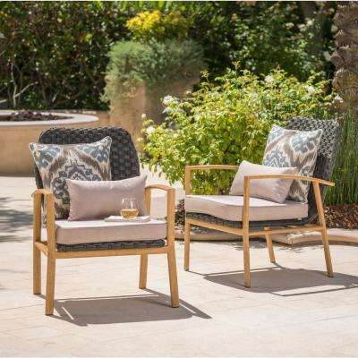 Light Brown and Gray Wicker Outdoor Lounge Chairs with Beige Cushion (2-Pack)