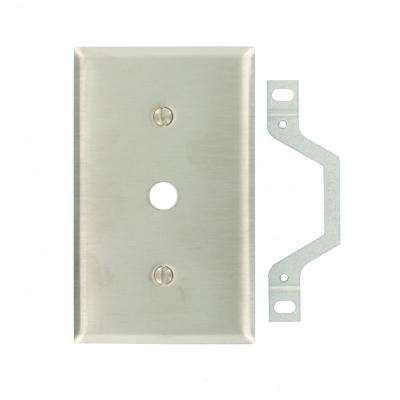 1-Gang Standard Size Strap Mount Wall Plate 0.406 in. Dia Phone/Cable Opening, Stainless Steel