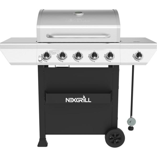5-Burner Propane Gas Grill in Stainless Steel with Side Burner and Condiment Rack
