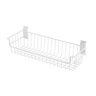 6 in. x 18 in. White Steel Large Basket Bracket for Wire Shelving