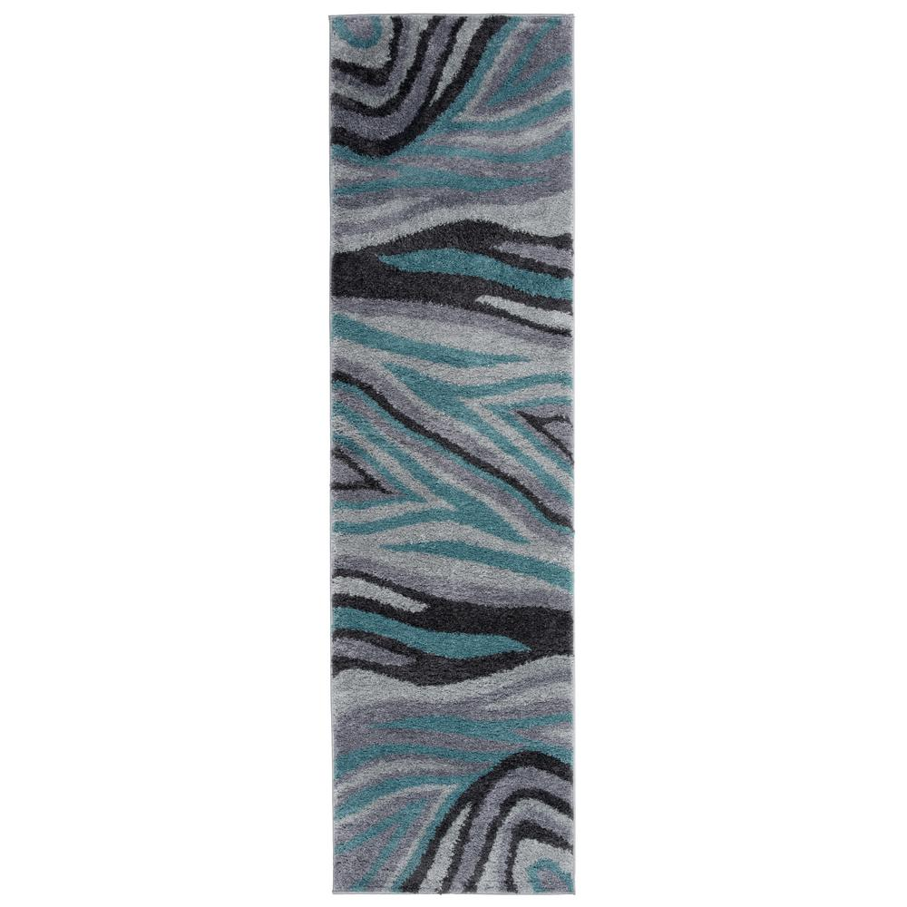 World Rug Gallery Contemporary Abstract Ultra Soft Shag Gray 2 Ft X 7 Runner