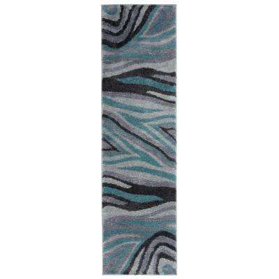 Contemporary Abstract Ultra Soft Shag Gray 2 ft. x 7 ft. Runner Rug